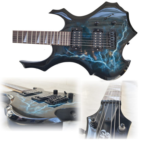 閃電 火焰 異形電吉他 套裝 套餐 送音箱 初學者 生日禮物 搖滾igo