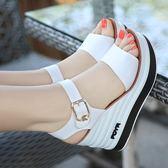 楔型鞋 雪地意爾康夏季涼鞋真皮高跟坡跟防滑松糕厚底露趾涼鞋女 唯伊時尚