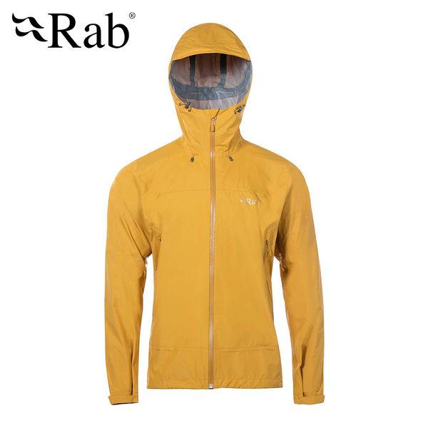 英國 RAB Downpour Plus Jacket 高透氣連帽防水外套 男款 迪戎黃 #QWF67