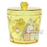 〔小禮堂〕角落生物 壓克力掀蓋圓形飾品罐《黃透明.鉛筆》收納罐.置物罐 4930972-46712
