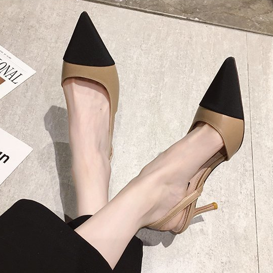 高跟鞋.優雅小香風拚色後簍空尖頭細跟包鞋.白鳥麗子