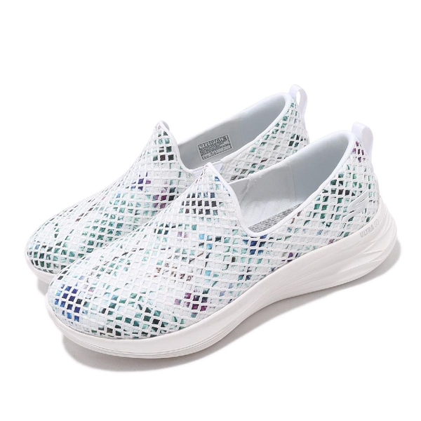 Skechers 休閒鞋 You Wave Peaceful 藍 白 花花 套入式 女鞋 【PUMP306】 132001WMLT
