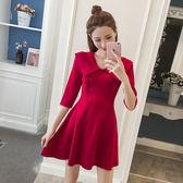 VK旗艦店 韓國名媛風木耳邊紅色高腰針織長袖洋裝