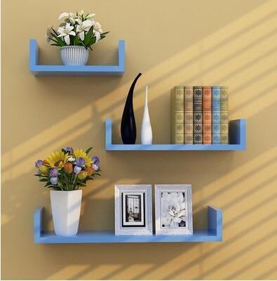 牆上置物架客廳牆壁掛牆面隔板擱臥室多層書架免打孔簡約現代裝飾【免打孔、藍色三件套】