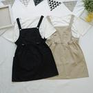 洋芋妹-10750日系背帶縮腰口袋兩件式套裝連身吊帶裙 2色【SB12671】