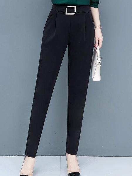 西裝褲 春秋褲子2021新款夏季黑色哈倫褲韓版高腰寬鬆西裝褲小腳休閒女褲 歐歐