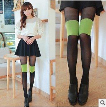 ►超顯瘦 假過膝絲襪 綠色拼接連褲襪 新款假高筒薄絲襪 假大腿【B7114】