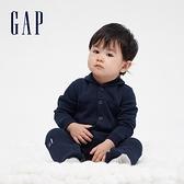 Gap嬰兒 碳素軟磨系列 舒適刷毛長袖包屁衣 656188-海軍藍