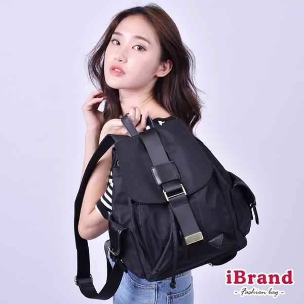 iBrand後背包 韓系時尚簡約真皮尼龍後背包-黑 SPL-62066-BK