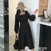 秋裝新款復古韓版中長款高原收腰長袖方領燈籠袖氣質大擺洋裝女