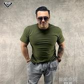 升級版軍迷半袖戰術訓練歐版純棉打底加肥加大寬鬆t恤短袖軍綠色 【端午節特惠】