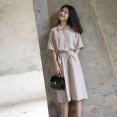 襯衫裙新品韓版時尚氣質簡約純色寬鬆中長款系帶短袖連身裙吾本良品