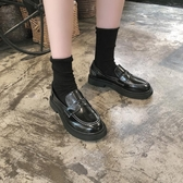 皮鞋jk日式小皮鞋女韓版百搭秋冬英倫風平底一腳蹬黑色日系單鞋潮 新年禮物