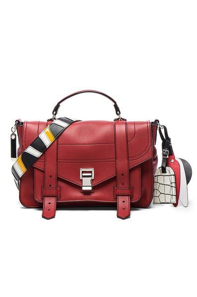 Proenza Schouler PS1+ 中款 山羊皮 手提 肩斜背 兩用包附吊飾 磚紅色