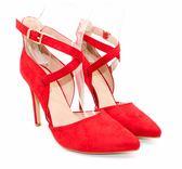 GLAZE 交叉繫帶絨面尖頭高跟鞋-4色