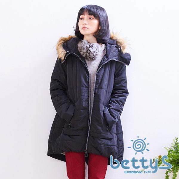 betty's貝蒂思 滾毛連帽鋪棉大衣(黑色)