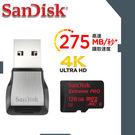 【免運費】SanDisk Extreme PRO micro SDXC 128GB 記憶卡(6114.MS512.322) 讀275M /附U3讀卡機/ 128G