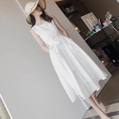 白色洋裝.繫帶蕾絲連身裙. 中長款過膝無袖裙子小香風婚紗禮服~2136ZLE37依佳衣