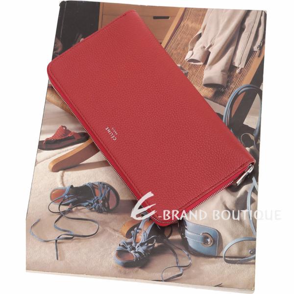 CELINE 大型 荔紋小牛皮拉鍊長夾(紅色) 1910038-54