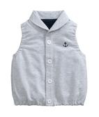 童裝 現貨 海軍標純棉毛圈有領小背心-02灰色【67098】
