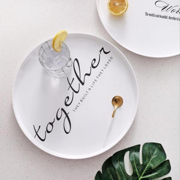 ins密胺北歐風托盤 圓形早餐盤點心盤茶盤茶托餐盤水果盤面包托盤