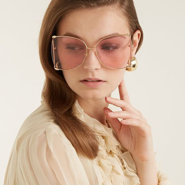 GUCCI 墨鏡 GG0252S (金) 蝶型 大框款 粉色鏡片 太陽眼鏡 久必大眼鏡