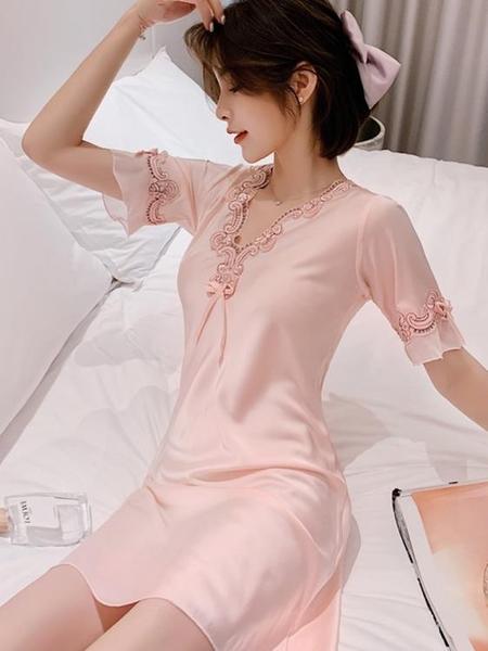 睡裙 2021新款春夏睡衣女絲綢睡裙薄款短袖冰絲性感韓版大碼網紅爆款 非凡小鋪