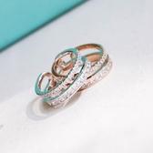 戒指 925純銀 鑲鑽-耀眼雙層生日情人節禮物女開口戒2色73dv42[時尚巴黎]