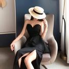 黑色小洋裝 智熏裙法式復古桔梗裙夏季名媛抹胸露背洋裝黑色小禮服連衣裙女裝【快速出貨】