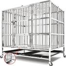 加粗方管不鏽鋼寵物籠XL(餵食小門+上掀天窗+移動輪)白鐵不銹鋼狗籠狗柵欄.加厚大狗屋小狗窩