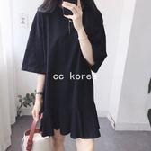 背面字母印花寬鬆魚尾裙洋裝 CC KOREA ~ Q16451