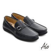 A.S.O 輕量抗震 都會牛皮直套式休閒皮鞋 藍色