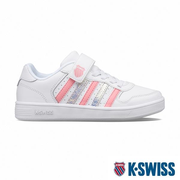 【超取】K-SWISS Court Palisades Strap時尚運動鞋-童-白/蜜桃粉/霓彩
