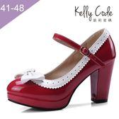 大尺碼女鞋-凱莉密碼-芭比公主撞色漆皮瑪莉珍圓頭防水台粗跟高跟鞋9cm(41-48)【SS4-4】紅色