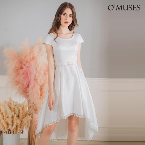 OMUSES 珠飾刺繡伴娘前短後長白色禮服