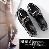 英倫鞋 英倫風女鞋2018秋季新款百搭豆豆鞋布洛克粗跟單鞋漆皮原宿小皮鞋