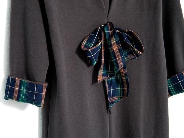 秋冬下殺↘5折[H2O]磨毛針織拼接格子布下襬側邊開叉連帽長版洋裝 - 紅/灰綠/藍色 #9654010