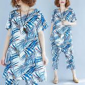 中大尺碼套裝 遮肉套裝女顯瘦夏季文藝大尺碼竹葉花上衣 休閒七分褲洋氣兩件套潮