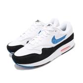 Nike 復古慢跑鞋 Air Max 1 白 藍 麂皮設計 休閒鞋 氣墊 男鞋 運動鞋【PUMP306】 AH8145-112