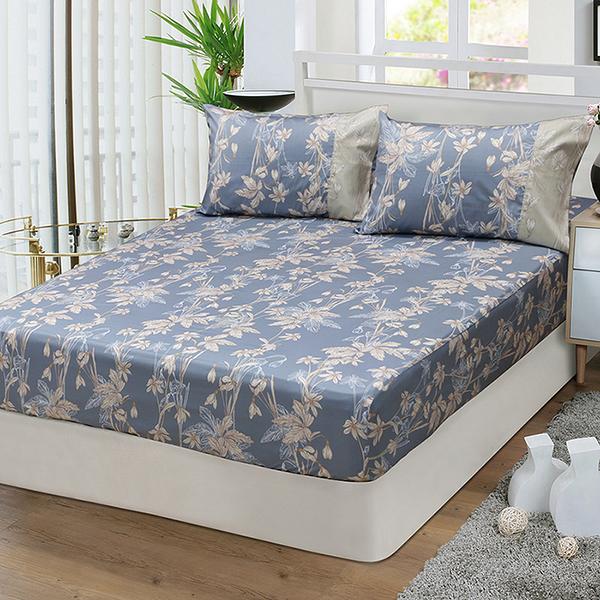 【FITNESS】精梳棉單人床包枕套二件組-緲緲煙花(灰藍)_TRP多利寶