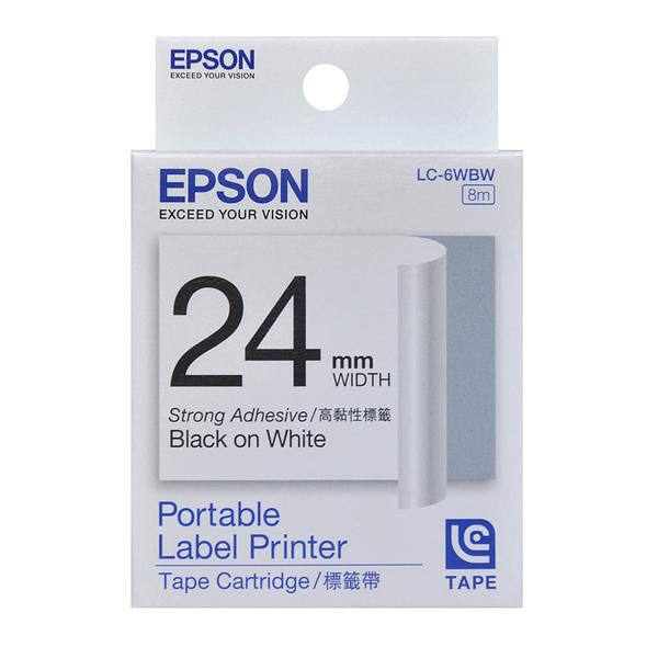 【高士資訊】EPSON 24mm LC-6WBW 高黏性 白底黑字 原廠 盒裝 防水 標籤帶 舊款