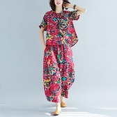夏季新款棉麻民族風印花短袖套裝時尚寬松哈倫褲大碼胖MM兩件 快速出貨