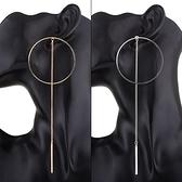鍍18K金耳環-時尚大方大圈圈長款女耳飾2色73ns24[時尚巴黎]