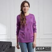 【JEEP】女裝 清新風格圖騰長袖針織衫 (紫紅)