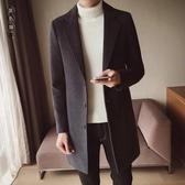 男士外套中長款風衣男冬季韓版修身呢大衣青少年學生加厚毛呢大衣wl10289[黑色妹妹]