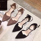 高跟鞋 法式高跟鞋女百搭細跟尖頭貓跟鞋性感中空一字扣單鞋春季 曼慕衣櫃