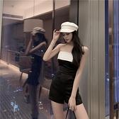 連身裙 撞色氣質顯瘦抹胸連身裙女高腰露背連身短褲夏季休閒褲子 晶彩 99免運