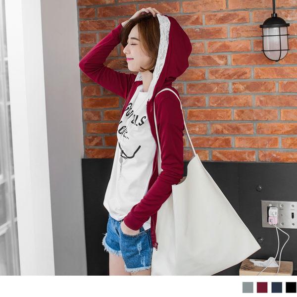 OB嚴選《EA0852-》甜美輕鬆~拼接緹花簡約連帽外套.4色--適 S~L