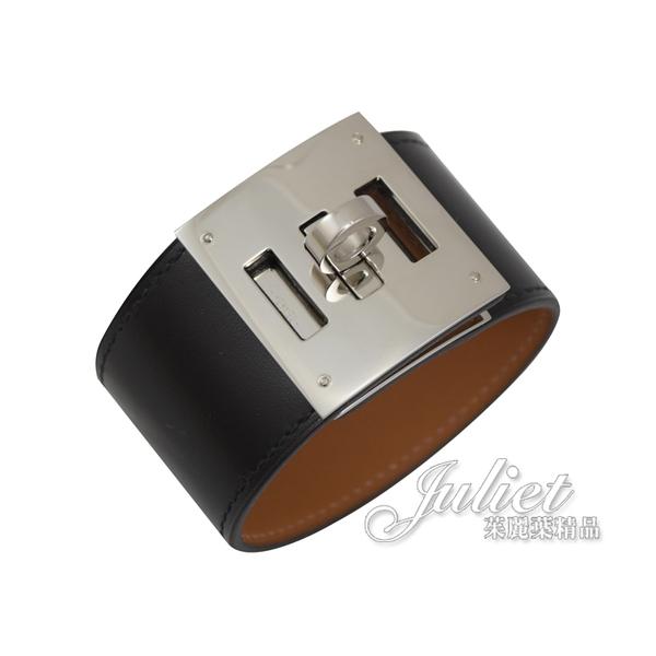 茱麗葉精品【全新現貨】HERMES Kelly Dog Extreme牛皮寬版手環.黑/銀