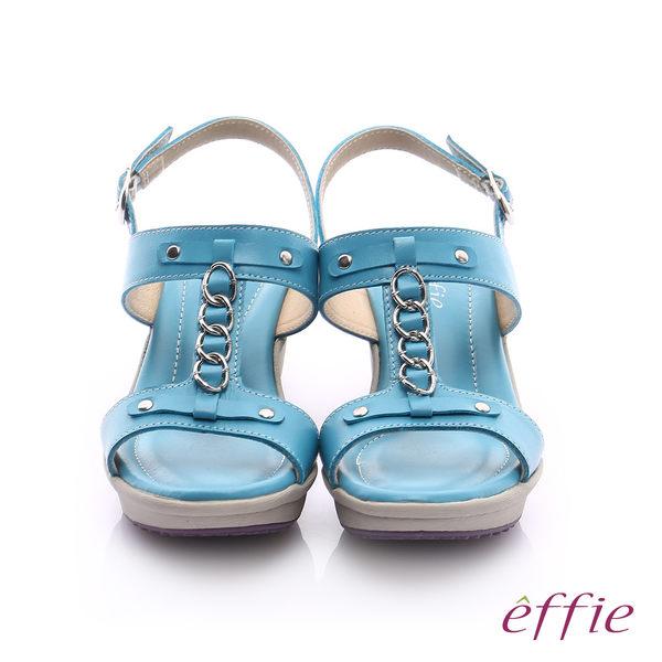 effie 輕量樂活 真皮工字鍊帶高跟楔型涼鞋  藍